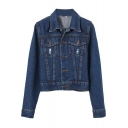 Dark Blue Wash Long Sleeve Single-Breasted Denim Jacket
