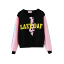 Pink Sleeve Cute Letter Print Crop Sweatshirt