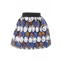 Colorful Circle Print Wool Mini Skirt with Elastic Waist