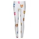 Hot White Emoji Print Fitted Skinny Leggings