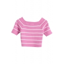 Sweet Navy Style Stripe Pattern Crop Boat Neck Knitting Top