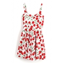 Fresh Floral and Fruit Print Spaghetti Strap Dress with Cutout Back