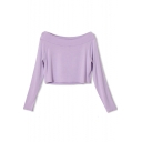 Lilac Boat Neck Crop Long Sleeve Tee