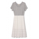 Gray Lace Panel Round Neck Short Sleeve Dress