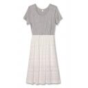 Gray Lace Panel Round Neck Short Sleeve Dress
