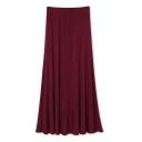 Burgundy Elastic Waist Ruffle Hem Skirt