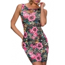 Rose Print Cutout Back Fitted Skinny Dress