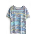Purple Rainbow Print Short Sleeve Round Neck Tee