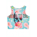 Floral and Skull Print Fitted Round Neck Crop Tanks