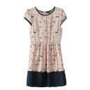 Short Sleeve Mori Girl Style Bow Print Contrast Trim Beige Dress