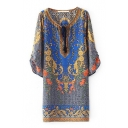 Baroque Print 3/4 Sleeve Mini Dress with Drawstring