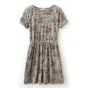 Gray Short Sleeve Gathered Waist Floral Print Dress