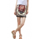 Vintage Floral Print White Pencil Mini Skirt