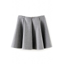 Plain Ruffle Hem Pleated Mini Skirt