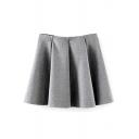 Plain Ruffle Hem Pleated Mini Skirt