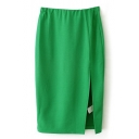 Green Plain Split Hem Midi Pencil Skirt