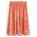 Orange Horse Print Elastic Waist Chiffon Skirt