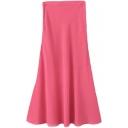 Pink A-line Maxi Cute Chiffon Skirt