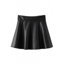 Black PU High Waist A-Line Mini Skirt