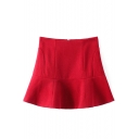 Red Simple High Waist A-Line Mini Skirt