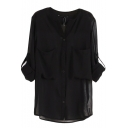 Black Pockets Long Sleeve Chiffon Sheer Blouse