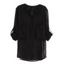 Black Pockets Long Sleeve Chiffon Sheer Blouse