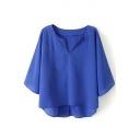 Royal Blue 1/2 Sleeve V-Neck Loose Chiffon Blouse