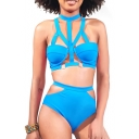 Blue Cutout Detail Halter High Waist Bikini Set