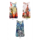 Buildings and Floral Print Sleeveless Tunic Top