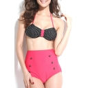 Red Halter Polka Dot High Waist Bikini Set