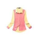 Color Block Long Sleeve Lapel Single Breast Blouse