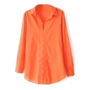 Orange Boyfriend V-Neck Long Sleeve Shirt