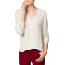 White V-Neck Long Sleeve Dip Hem Blouse