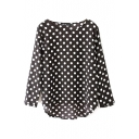 Black Polka Dot Print Loose 3/4 Sleeve Dip Hem Blouse