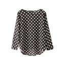 Black Polka Dot Print Loose 3/4 Sleeve Dip Hem Blouse