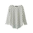 White Polka Dot Print Loose 3/4 Sleeve Dip Hem Blouse