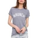 Gray Short Sleeve Brunch Print T-Shirt