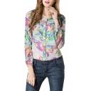 Round Neck Vintage Flower Print Chiffon Shirt