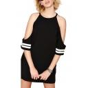 Black Halter Off-The-Shoulder Striped Trim Dress