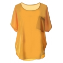 Plain Short Sleeve Pocket Front Chiffon Blouse