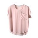 Pink Short Sleeve Pocket Front Chiffon Blouse