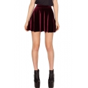 Burgundy Club Style Mini Velvet Skater Skirt