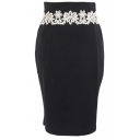 Plain Lace Waist Midi Pencil Skirt with Zip Fly