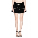 Three Cat Embroidered Elastic Waist Fake Pockets Woolen Shorts