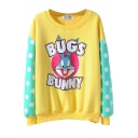 Candy Color Letter Cartoon Rabbit Print Polka Dot Sleeve Sweatshirt
