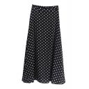 Vintage Polka Dot Chiffon Midi A-line Skirt