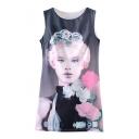 Flower Embellish Pretty Lady Print Slim Tanks Dress