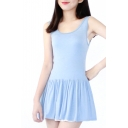 Pleated Hem Mini Tanks A-line Blue Dress