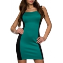 Color Block Zipper Back Cutout Back Square Neck Dress
