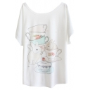 Cup&Bunny Print White Tee